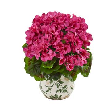 12 Geranium Artificial Plant in Vase UV Resistant Indoor/Outdoor - SKU #8604
