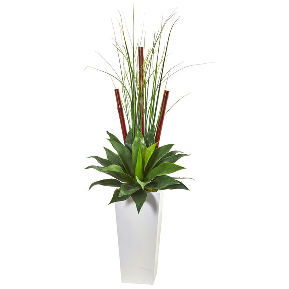 4.5 Giant Agave Succulent Artificial Plant in White Planter - SKU #8605