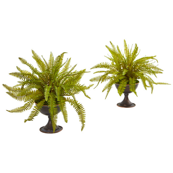 Fern Artificial Plant in Metal Chalice Set of 2 - SKU #8606-S2