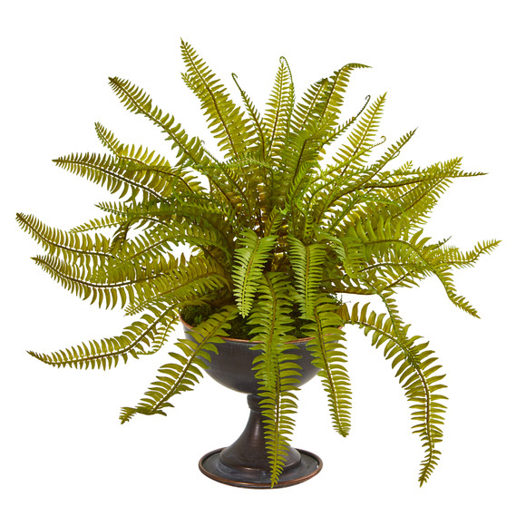 Fern Artificial Plant in Metal Chalice Set of 2 - SKU #8606-S2 - 1