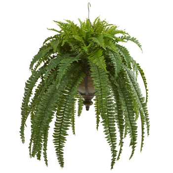 39 Boston Fern Artificial Plant in Metal Hanging Bowl - SKU #8607