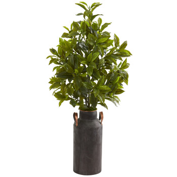 32 Coffee Leaf Artificial Plant in Decorative Canister Real Touch - SKU #8608