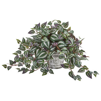 15 Wandering Jew Artificial Plant in Vintage Metal Hanging Planter - SKU #8611