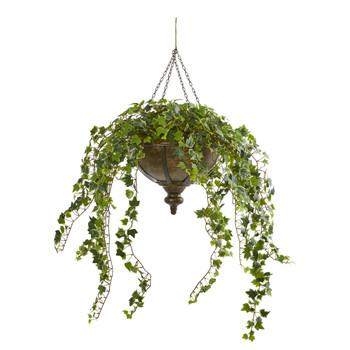 43 Ivy Artificial Hanging Plant in Hanging Metal Bowl - SKU #8616