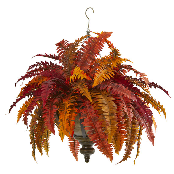 28 Autumn Boston Fern Artificial Plant in Hanging Metal Bowl - SKU #8617