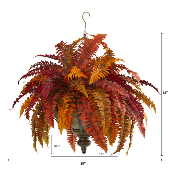 28 Autumn Boston Fern Artificial Plant in Hanging Metal Bowl - SKU #8617 - 1
