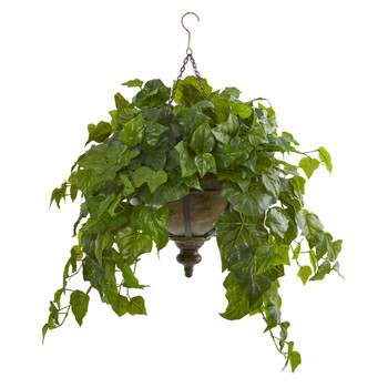 34 London Ivy Artificial Plant in Hanging Bowl Real Touch - SKU #8618