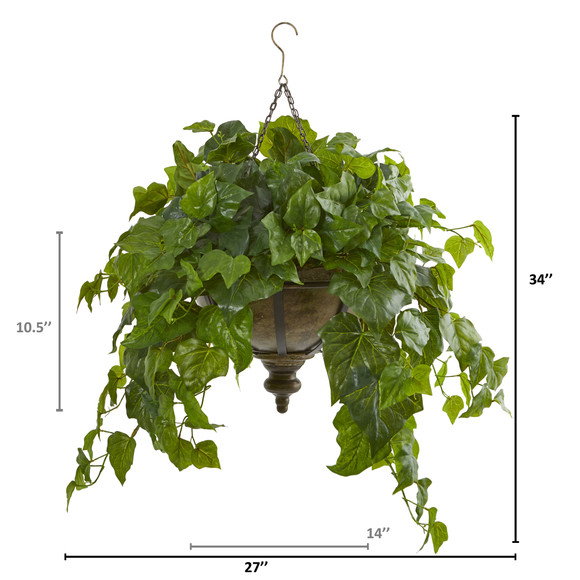 34 London Ivy Artificial Plant in Hanging Bowl Real Touch - SKU #8618 - 1