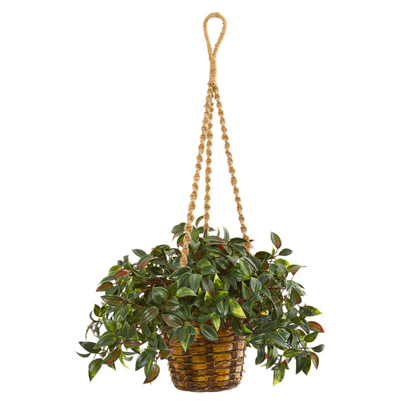 30 Mini Melon Artificial Plant in Hanging Basket UV Resistant Indoor/Outdoor - SKU #8619