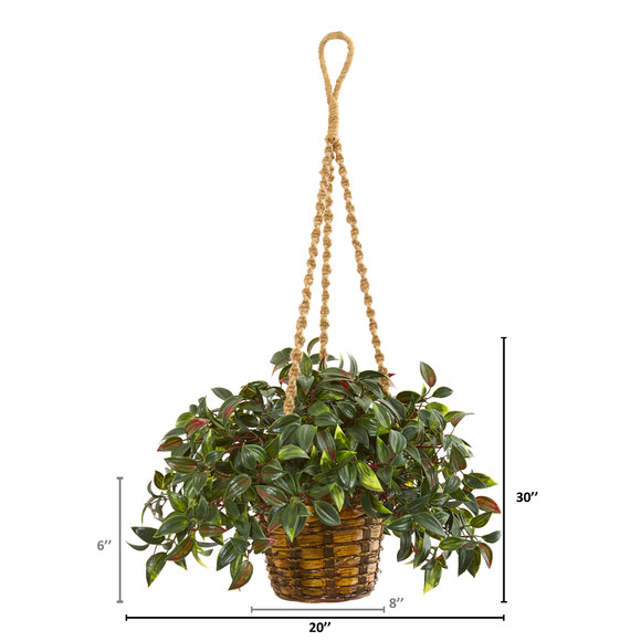 30 Mini Melon Artificial Plant in Hanging Basket UV Resistant Indoor/Outdoor - SKU #8619 - 1
