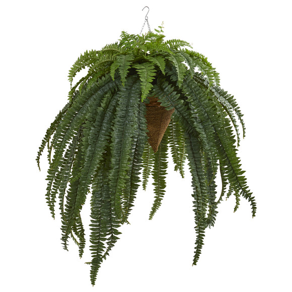 50 Giant Boston Fern Artificial Plant in Hanging Cone - SKU #8620