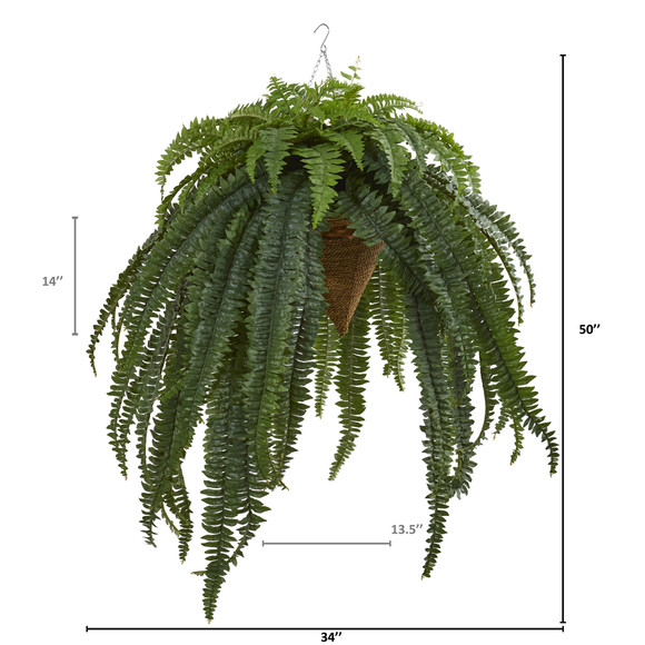 50 Giant Boston Fern Artificial Plant in Hanging Cone - SKU #8620 - 1