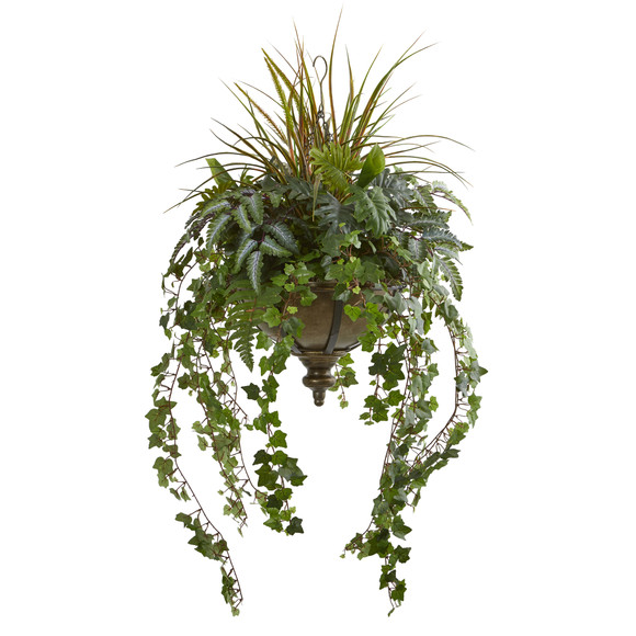 45 Ivy and Mix Greens Artificial Plant in Hanging Metal Bowl - SKU #8621