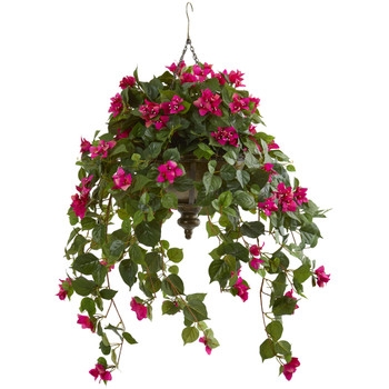 37 Bougainvillea Artificial Plant in Hanging Metal Bowl - SKU #8622-BU