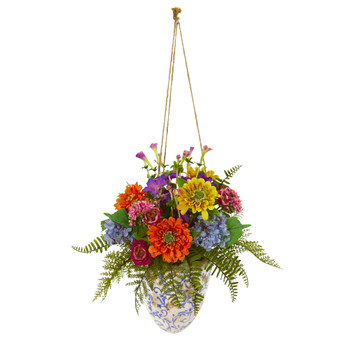 29 Mixed Flowers Artificial Plant in Hanging Vase - SKU #8627