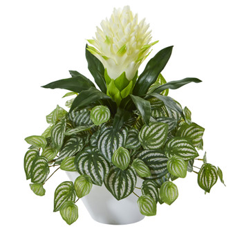 18 Bromeliad Peperomia Artificial Plant in White Bowl - SKU #8632-WH