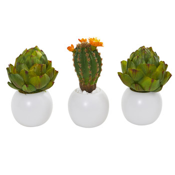8 Artichoke and Cactus Artificial Plant in White Planter Set of 3 - SKU #8633-S3