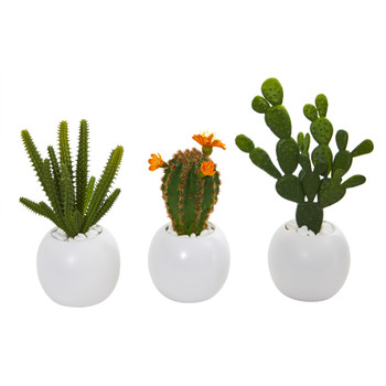 10 Mix Succulent Artificial Plant in White Planter Set of 3 - SKU #8634-S3