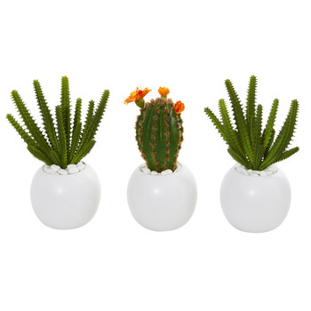 8 Cactus Succulent Artificial Plant in White Planter Set of 3 - SKU #8635-S3