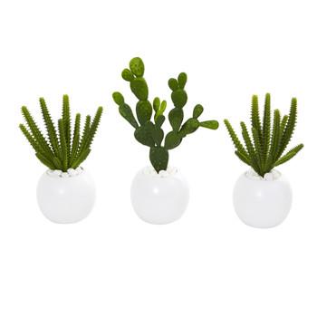 10 Cactus Succulent Artificial Plant in White Vase Set of 3 - SKU #8637-S3