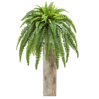 23 Boston Fern Artificial Plant in Sand Colored Planter - SKU #8638