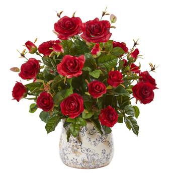 21 Garden Rose Artificial Plant in Decorative Vase - SKU #8639-RD