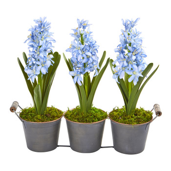 Triple Potted Hyacinth Artificial Plant - SKU #8641