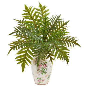 25 Hares Foot Fern Artificial Plant in Decorative Vase Real Touch - SKU #8645