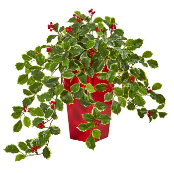 23 Variegated Holly with Berries Artificial Plant in Red Planter Real Touch - SKU #8653