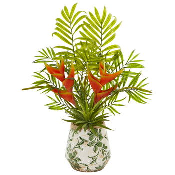 18 Heliconia and Agave Artificial Plant in Decorative Planter - SKU #8655