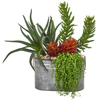 22 Mixed Succulent Garden Artificial Plant in Metal Planter - SKU #8665