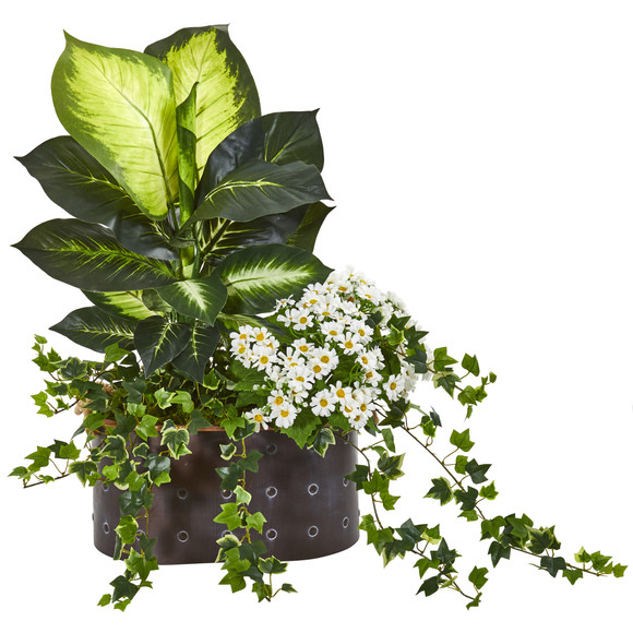 29 Golden Dieffenbachia Ivy and Daisy Artificial Plant in Planter - SKU #8666