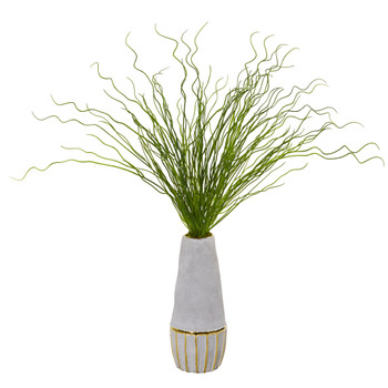 23 Curly Grass Artificial Plant in Decorative Planter - SKU #8667