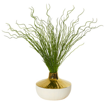 19 Curly Grass Artificial Plant in Designer Planter - SKU #8668