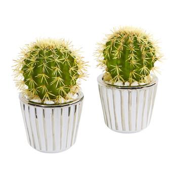 8 Cactus Artificial Plant in Decorative Planter Set of 2 - SKU #8671-S2