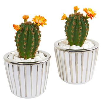 8 Flowering Cactus Artificial Plant in Decorative Planter Set of 2 - SKU #8673-S2