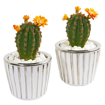 8 Flowering Cactus Artificial Plant in Decorative Planter Set of 2 - SKU #8673-S2