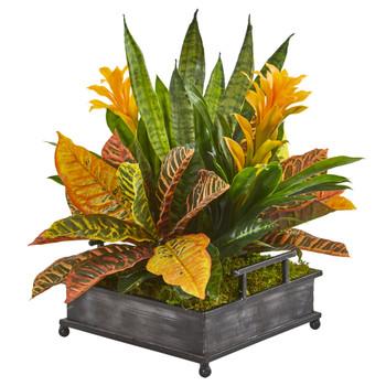 18 Bromeliad Croton and Sansevieria Artificial Plant in Decorative Tray - SKU #8674
