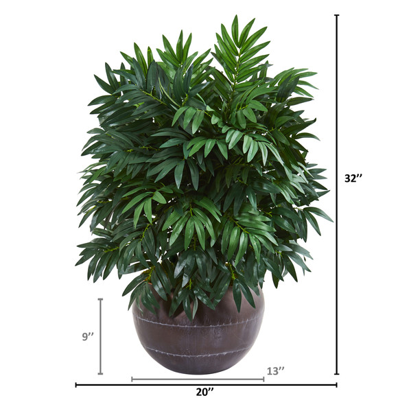 32 Bamboo Palm Artificial Plant in Metal Bowl - SKU #8675 - 1