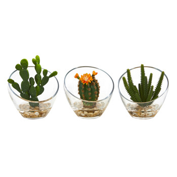 7 Mixed Succulent Artificial Plant in Glass Vase Set of 3 - SKU #8676-S3