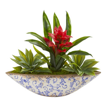 Bromeliad and Agave Artificial Plant in Floral Planter - SKU #8678
