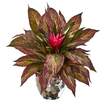 Ginger and Musa Leaf Artificial Plant in Silver Planter - SKU #8679