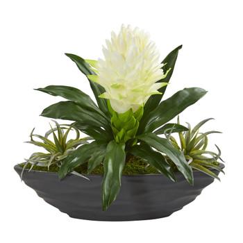 16 Bromeliad and Succulent Artificial Plant in Decorative Planter - SKU #8681