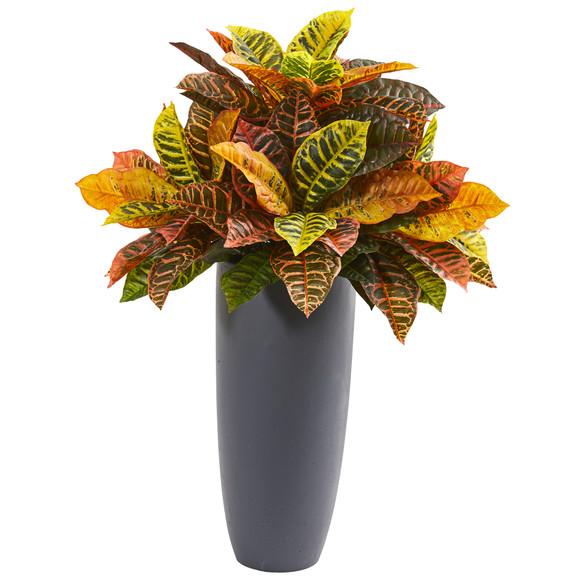 30 Garden Croton Artificial Plant in Gray Planter Real Touch - SKU #8682