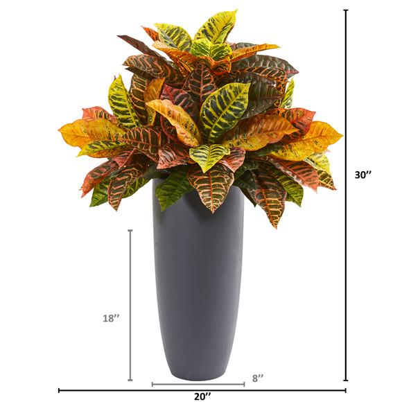 30 Garden Croton Artificial Plant in Gray Planter Real Touch - SKU #8682 - 1