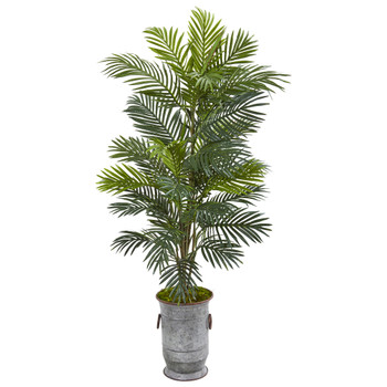 56 Areca Palm Artificial Plant in Metal Urn - SKU #8684