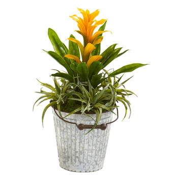 18 Bromeliad and Succulent Artificial Plant in Metal Bucket - SKU #8687-YL