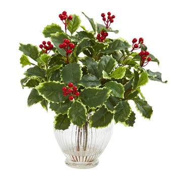 15 Variegated Holly Leaf Artificial Plant in Vase Real Touch - SKU #8688