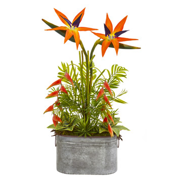 34 Tropical and Greens Artificial Plant in Metal Planter - SKU #8689