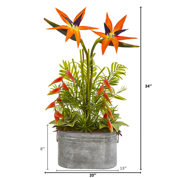34 Tropical and Greens Artificial Plant in Metal Planter - SKU #8689 - 1